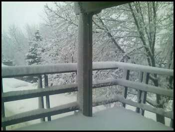 A wintry shot of my parents' porch