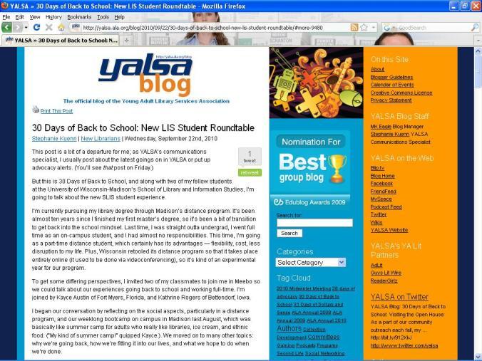 Screen shot of YALSA Blog: 30 Days of Back to School
